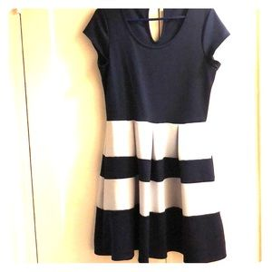 Navy Blue & Gray Stripe Dress